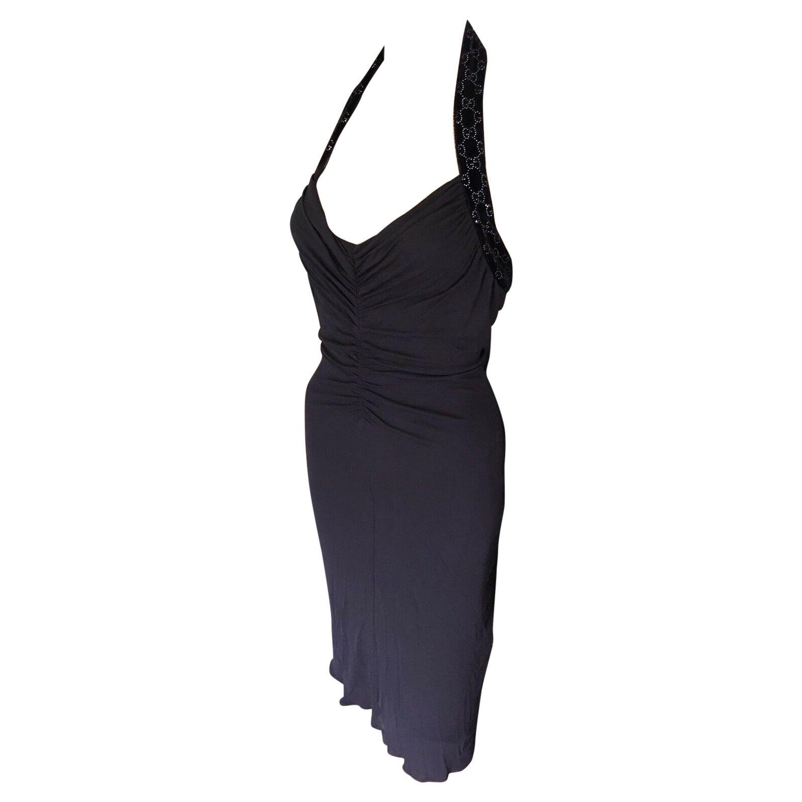 Gucci Embellished Halter Open Back Dress
