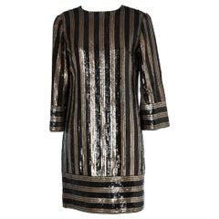 Black & Gold Striped sequin dress 1960's