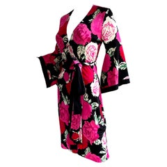Flora Kung Rose Print Kimono Wrap Silk Dress - NWT