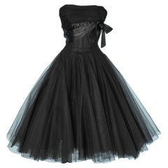Black tulle and satin bustier dress 1950 Emilio Schuberth