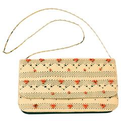 Nancy Gonzales Tan Woven Beaded Clutch with Crocodile Leather