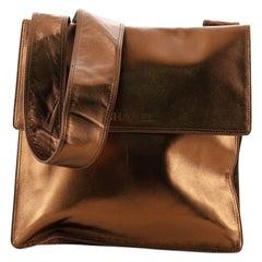 Chanel Vintage Flat Crossbody Bag Leather Medium
