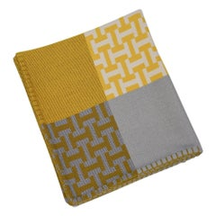 Hermes Avalon Terre D'H Blanket Lime Hand Woven Cashmere New w/Box