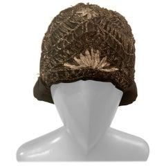 1920's Cloche Hat with Metallic Silver and Gold Soutache Braid Trim
