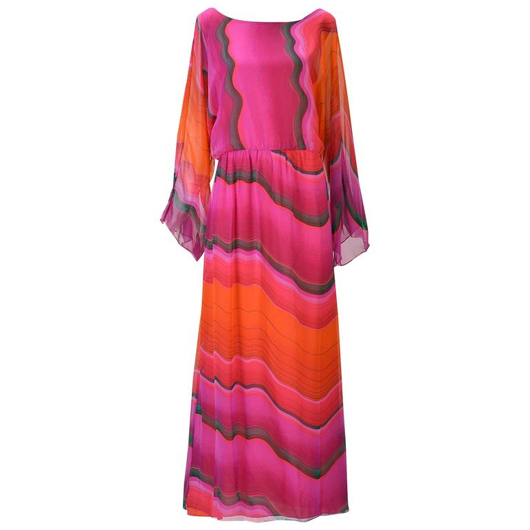 1980s Hanae Mori Silk Sunset Colored Kimono Sleeve Dress