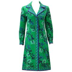 1960s Emilio Pucci Green, Blue and Purple Grape Vine Print Velvet Dress