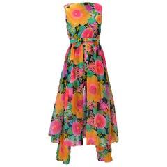 1960s Pat Sandler Floral Jumpsuit and Overdress