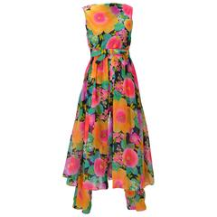 1960s Pat Sandler Floral Jumpsuit and Overdress