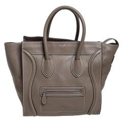 Celine Grey Leather Mini Luggage Tote