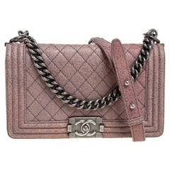 Chanel Pink Quilted Nubuck Leather Medium Boy Bag