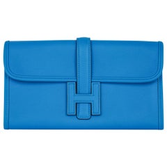 Hermes Jige Duo Wallet / Clutch Blue Zanzibar New w/Box