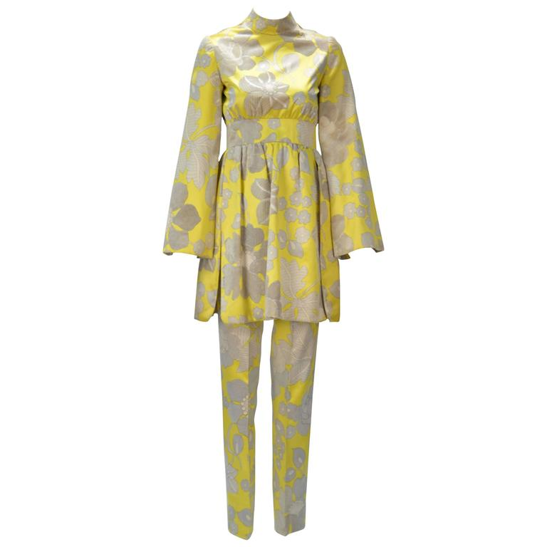 1960s George Halley Yellow Silk Tunic and Pant Suit  For Sale