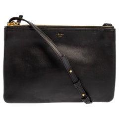 Céline Black Leather Large Trio Crossbody Bag