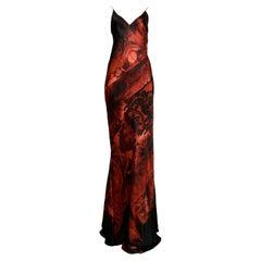 Roberto Cavalli Vintage Black & Red Slip Evening Gown