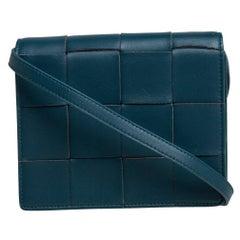 Bottega Veneta Teal Blue Leather Mini Cassette Crossbody Bag