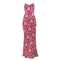 John Galliano Red Kaleidoscope Dress With Rhinestones