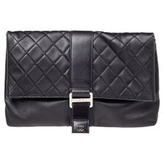 Chanel Black Quilted Leather Grip Clutch