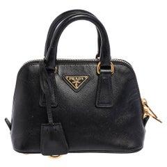 Prada Black Saffiano Lux Leather Mini Promenade Crossbody Bag