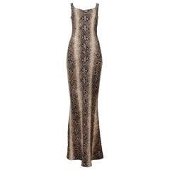 John Galliano Brown Tone Snakeskin Print Maxi Length Dress
