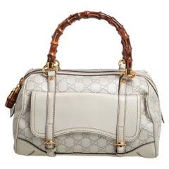 Gucci White Guccissima Leather Medium Bamboo Boston Bag