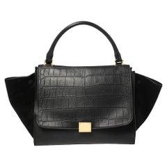 Celine Black Croc Embossed Leather and Suede Medium Trapeze Bag