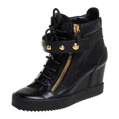 Giuseppe Zanotti Black Leather Wedge Sneakers Size 40