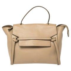 Celine Beige Leather Mini Belt Top Handle Bag