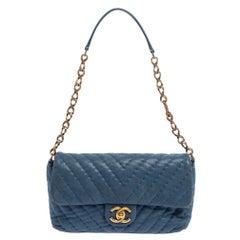 Chanel Blue Shimmer Leather Surpique Chevron Medium Flap Bag