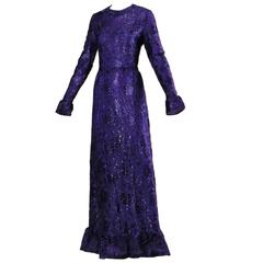 1971 Givenchy Unworn Vintage Deadstock Purple Maxi Dress Dress