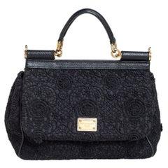 Dolce & Gabbana Black Lace Medium Miss Sicily Top Handle Bag