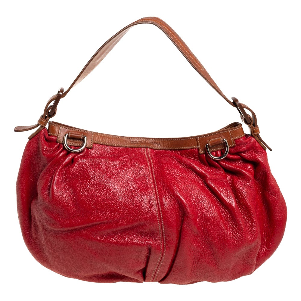 Dolce & Gabbana Red Shimmery Glossy Leather Miss Fluid Hobo