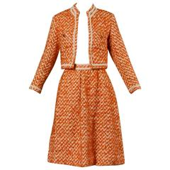 Nina Ricci Vintage 1960s 60s Couture Wool Silk Jacket + Skirt Suit Ensemble