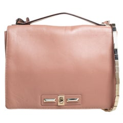 Valentino Beige Leather Chain Flap Top Handle Bag