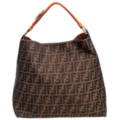 Fendi Tobacco Zucca Canvas and Leather Large Hobo