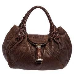 Fendi Dark Brown Textured Leather Spy Bag