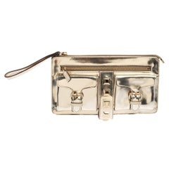 Gucci Light Gold Patent Leather Studded Evening Wristlet