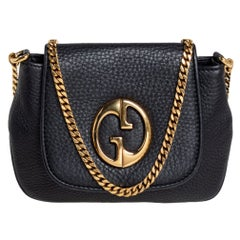 Gucci Black Leather Small 1973 Chain Shoulder Bag