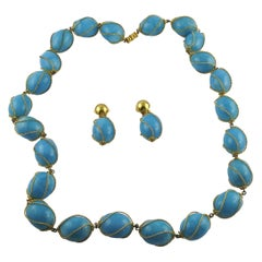 Christian Dior Vintage Encaged Blue Resin Beads Necklace and Earrings Set 1966