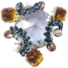 Schreiner of New York large crystal brooch