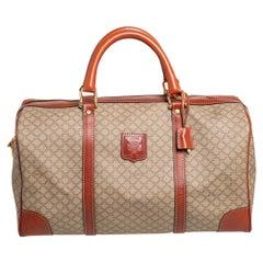 Celine Tan//Beige Macadam PVC and Leather Trim Duffel Bag