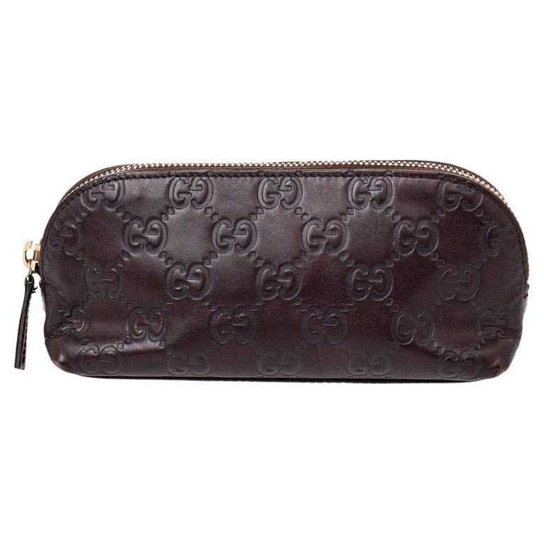Gucci Brown Guccissima Leather Pouch For Sale