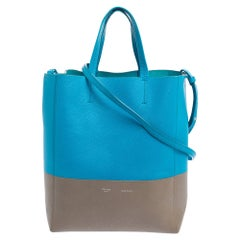 Celine Blue/Grey Grained Leather Small Vertical Cabas Tote