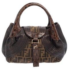 Fendi Tobacco Zucca Canvas and Leather Spy Bag