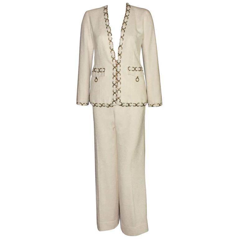 CHANEL Maison Lesage Silk Chain Trouser Pant Suit For Sale