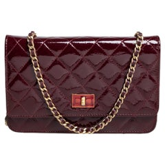 Chanel Burgundy Quilted Patent Leather Reissue Wallet On Chain