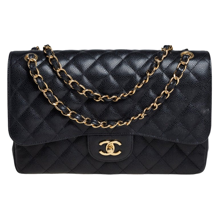 Chanel Black Quilted Caviar Leather Jumbo Classic Double Flap Bag For Sale