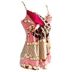Pink printed silk jersey Cami Slip MILLI top - NWT Flora Kung
