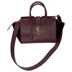 YSL Cabas Burgundy Bag