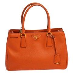 Prada Orange Saffiano Lux Leather Tote