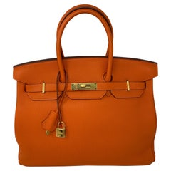 Hermes Birkin Feu Orange 35 Bag